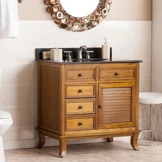 Washington Weathered Oak/ Black Granite Top Bath Vanity Sink