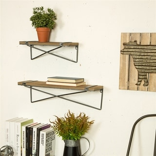 Glitzhome Farmhouse Rustic Metal Wooden Wall Shelf Set of two