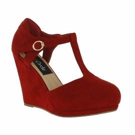 Red Circle Footwear 'Kana' T-strap Pump Wedge