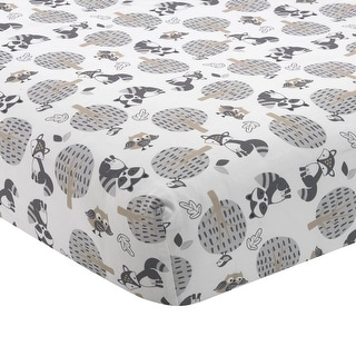 Bedtime Originals Little Rascals White/Gray/Taupe Woodland Animals and Trees Baby Fitted Crib Sheet