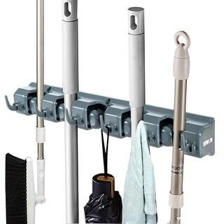 Costway Mop Broom Holder Garden Tool Rack Organizer 5 Positions w/6