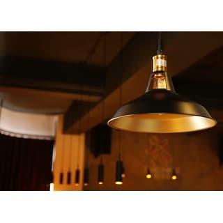 Metal Pendant Light, Edison Vintage Style Hanging Barn Lampshade, E26 Base