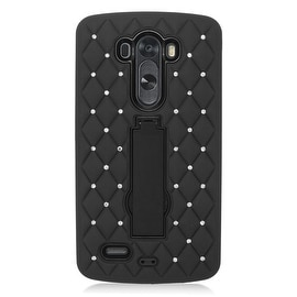 Insten Black Symbiosis Dual Layer Hybrid Stand Rubber Silicone/ PC Case Cover With Diamond Compatible LG G3