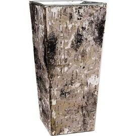 """CYS® Zinc Pot with Natural Birch Wood Wrap Zinc Square Vase Dimension: H-10"""", Open 5""""x 5"""", Bottom 3.5"""" x 3.5"""""""