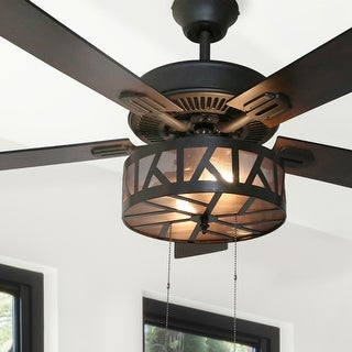 "Copper Grove Chaguaramas 52-inch Urban/Industrial Caged LED Ceiling Fan - 52""L x 52""W x 19.25""H"