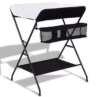 Baby Storage Folding Diaper Changing Table - Black