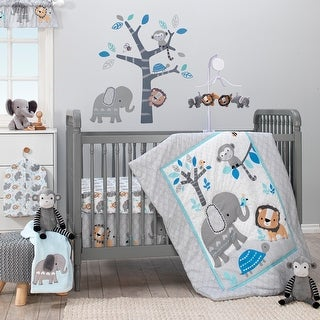 Bedtime Originals Jungle Fun Gray/Blue/White Elephant, Lion and Monkey 3-Piece Baby Nursery Crib Bedding Set