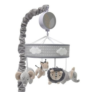 Lambs & Ivy Jungle Safari Gray Elephant/Lion/Giraffe Musical Baby Crib Mobile Toy