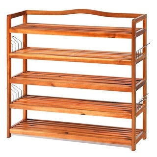 Costway 5-Tier Wood Shoe Rack Freestanding Large Shoe Storage
