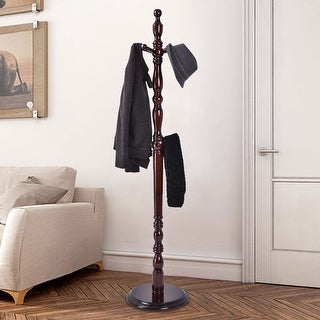 Costway 2 -Tire Wood Hat Coat Rack Hanger Tree Stand Hallway Entry