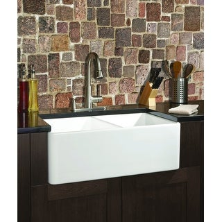 Fine Fixtures Fireclay Apron 32.5-inch White Double Kitchen Sink