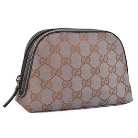 New Gucci 272366 Metallic Grey Gold Canvas GG Dome Cosmetic Makeup Bag