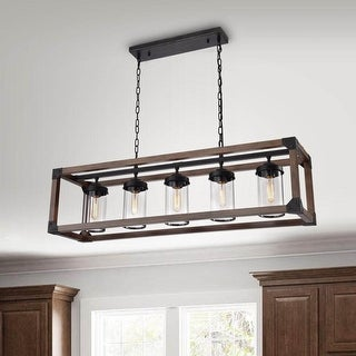 Daniela 5-light Antique Black Metal and Natural Wood Glass Chandelier