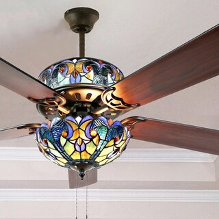 "Gracewood Hollow Lemsine Blue Stained Glass Tiffany-style Ceiling Fan - 52""L x 52""W x 19""H"