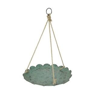 Verdigris Finish Metal and Rope Hanging Bird Feeder / Birdbath Farmhouse Decor - 1.25 X 19.25 X 19.25 inches