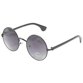 John Lennon Sunglasses Hippie Retro Round Frame, Black Frame Gradient Smoke Lense