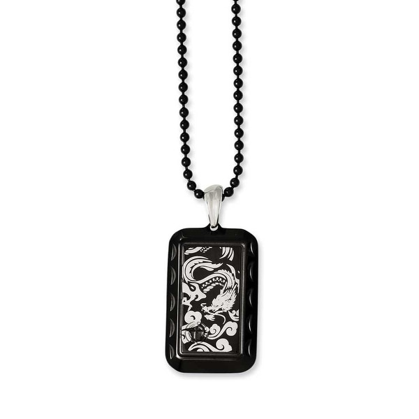 Chisel Stainless Steel Black IP-plated with Dragon Dogtag 20in Necklace (2 mm) - 20 in