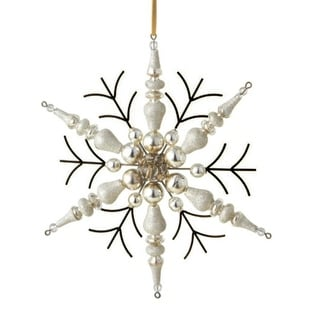 "7"" White and Gold Beaded Rustic Finial Snowflake Christmas Ornament"