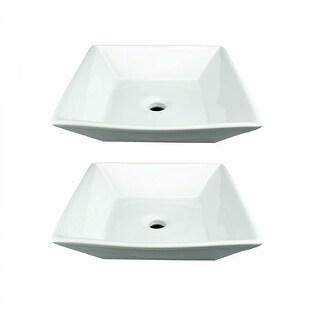 Renovators Supply White Porcelain Bathroom Vessel Sink Square Set of 2