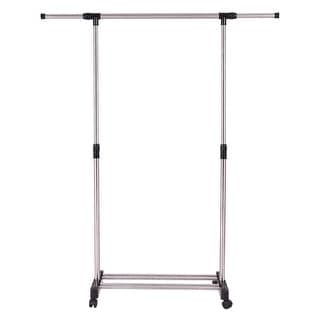 Gymax Portable Rolling Garment Rack Closet Organizer Shelf Clothes