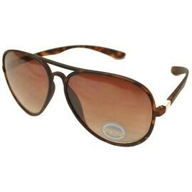 Aviator Sunglasses Tortoise Flexible Frame Brown Gradient Lens UV400