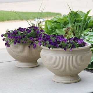 "Sunnydaze Elizabeth Double-Walled Flower Pot Planter - Beige - 16"" - 2-PK - Set of 2"
