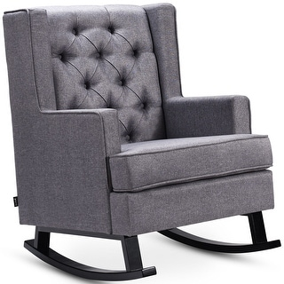 Costway Mid-Century Retro Fabric Upholstered Button-Tufted Wingback
