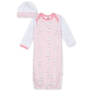 Just Born® Baby Girls' 2-Piece Organic Lil' Llama Gown and Hat Set - Pink/White