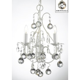 Wrought Iron and Crystal White Chandelier Pendant with 40MM Crystal Balls