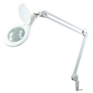 PureOptics® LED Magnifying Desk Lamp with Clamp Mount, Energy-Efficient LEDs, Dimmable, 4.5W, 480 Lumens, White