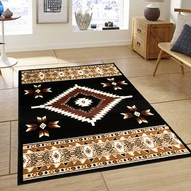 """Allstar Black Woven High Quality Rug. Traditional. Persian. Flower. Western. Design Area Rugs (3' 9"""" x 5' 1"""")"""