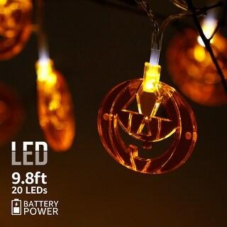 Halloween LED Copper Wire String Lights, Flat Pumpkins Pendants, 8 Modes