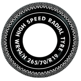 """35"""" Black and White Radial Tire Inflatable Swimming Pool Inner Tube Ring Float"""
