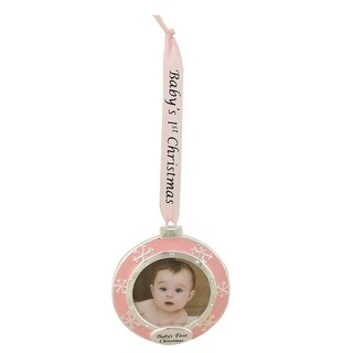 """3"""" Pink and Silver-Plated Framed Baby's First Christmas Ornament"""