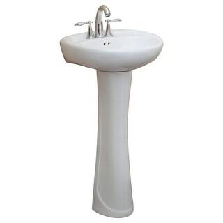 Fine Fixtures Ceramic 19.25-inch White Pedestal Sink