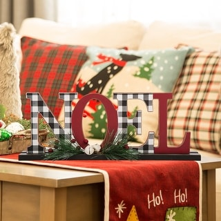 Glitzhome Christmas Wooden Word Table Decor