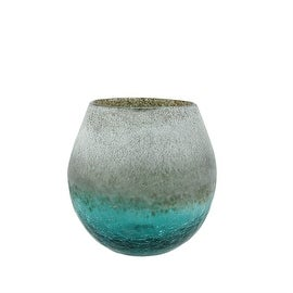 """5.5"""" Teal Blue Crackled and Brown Frosted Hand Blown Decorative Glass Vase"""