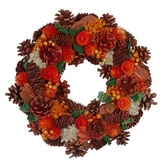 Autumn Harvest Hydrangea and Pine Cone Artificial Thanksgiving Wreath - 13-Inch, Unlit