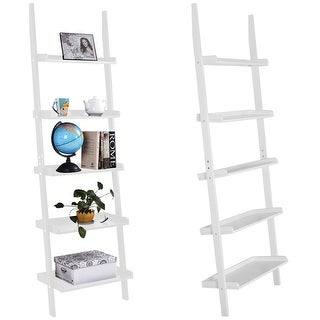Costway Versatile White 5-Tier Bookshelf Leaning Wall Shelf Ladder