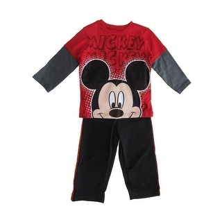 Disney Little Boys Red Mickey Mouse Long Sleeve Set
