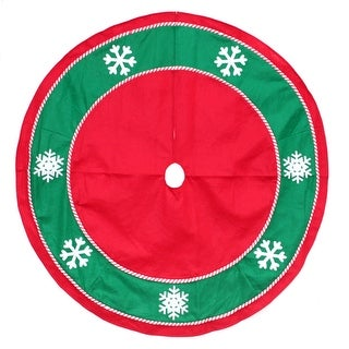 """48"""" Red and Green Snowflakes Christmas Tree Skirt with Candy Cane Trim"""