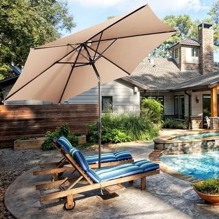 Costway 10FT Patio Umbrella 6 Ribs Market Steel Tilt W/ Crank Outdoor