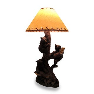 Three Playful Bear Cubs Climbing a Tree Decorative Lamp and Shade - 26 X 9.25 X 6.5 inches