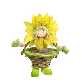 15'' Yellow Green and Tan Spring Floral Sunflower Girl with Basket Decorative Figure