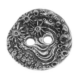 Green Girl Studios Button Pendant, 16mm 2-hole Round Barnacle, 1 Piece, Pewter