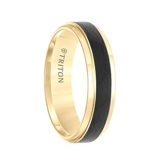 Yellow Two-Tone Tungsten Polished Step Edges Ring with Wire Brushed Raised Black Center by Triton Rings - 6mm