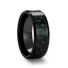 ATILUS Beveled Black Ceramic Wedding Band with Black & Green Carbon Fiber
