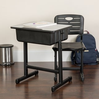 """Adjustable Height Student Desk and Chair - 23.63""""W x 17.75""""D x 28.25"""" - 31.50""""H"""