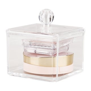"Acrylic Cotton Swabs Makeup Organizer Storage Bud Holder Box Cosmetic Case Lid - 3.66""x3.66""x3.74"""