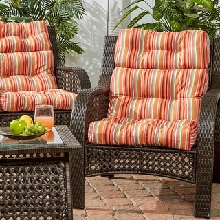 Colton 3-section Coastal Stripe 22-inch x 44-inch Outdoor High Back Chair Cushion (Set of 2) by Havenside Home - 44l x 22w